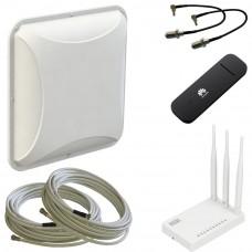 Готовый комплект с антенной Petra MIMO, кабелями, USB модемом и Wi-Fi роутером