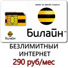 Безлимитный Билайн 290 руб/мес.