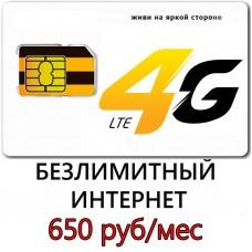 Безлимитный Интернет Билайн 650 руб/мес.
